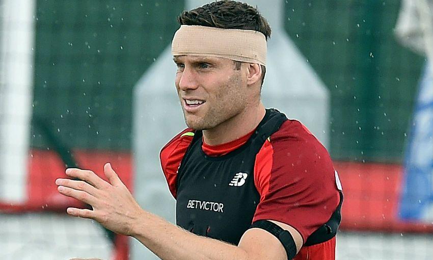 James Milner of Liverpool FC training at Melwood