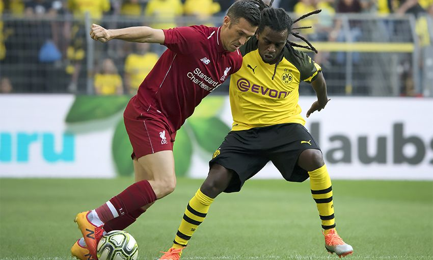 Liverpool Legends goalscorer Luis Garcia in action against BVB Legends