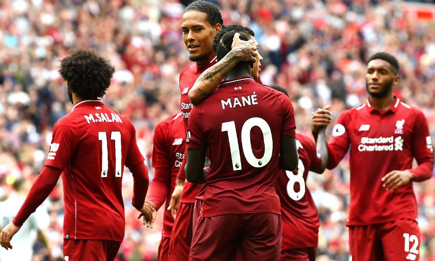 Liverpool FC players celebrate Sadio Mane's goal v West Ham