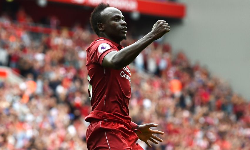 Sadio Mane celebrates scoring for Liverpool against West Ham