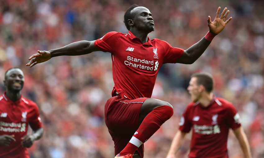 Sadio Mane, Liverpool FC forward, celebrates a goal at Anfield