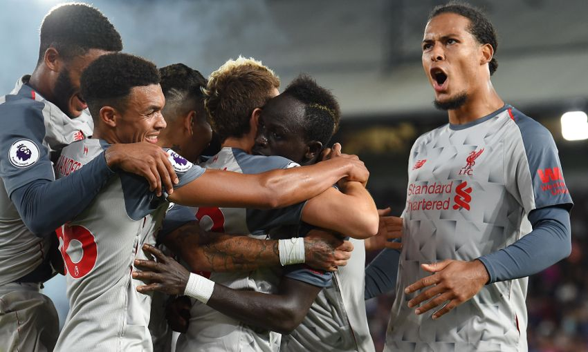 Liverpool celebrate a win against Crystal Palace