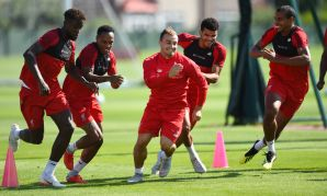 Liverpool train at Melwood on August 21