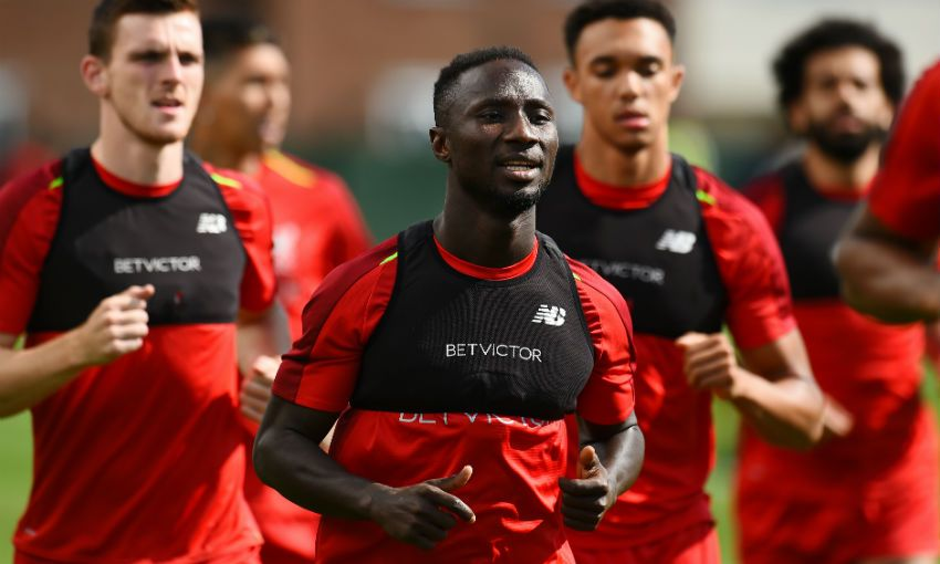 Naby Keita of Liverpool FC in training at Melwood, August 2018