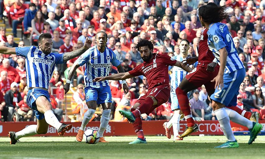 Liverpool's Mohamed Salah in action against Brighton at Anfield.