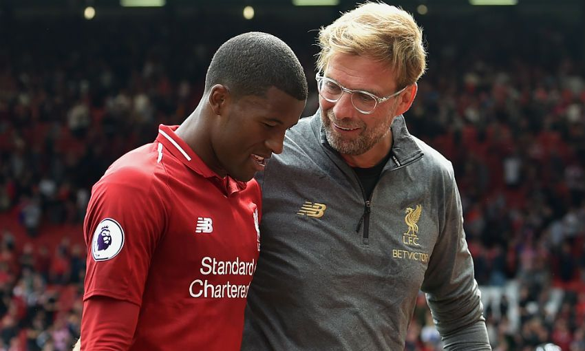Jürgen Klopp and Georginio Wijnaldum of LIverpool FC at Anfield