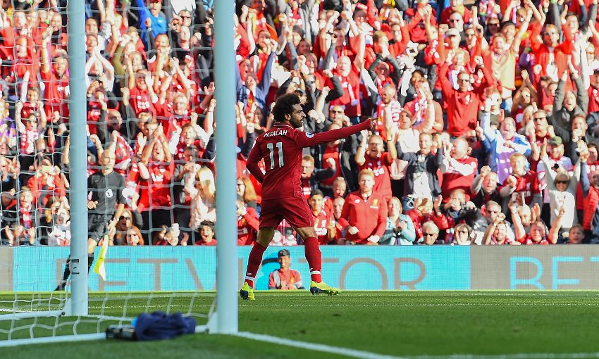 Mohamed Salah celebrates a goal against Brighton