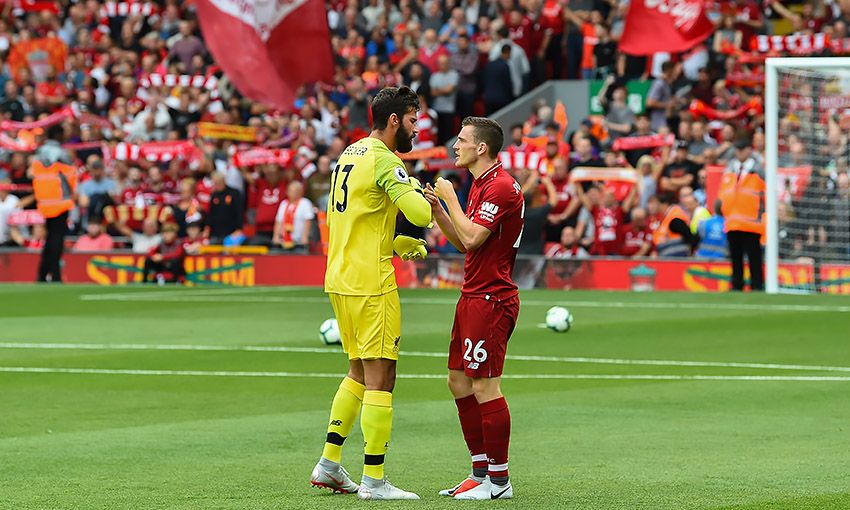 Liverpool goalkeeper Alisson Becker and defender Andy Robertson