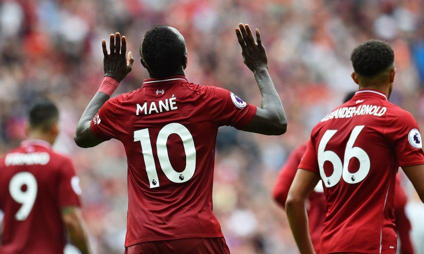 Liverpool forward Sadio Mane celebrates a goal