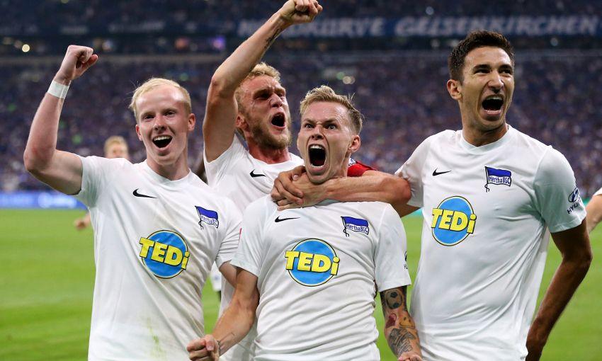 Marko Grujic celebrates a goal for Hertha BSC