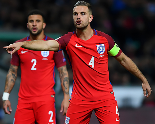 Liverpool captain Jordan Henderson skippers England.