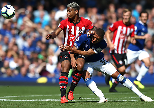Southampton's Mario Lemina battles with Everton's Richarlison
