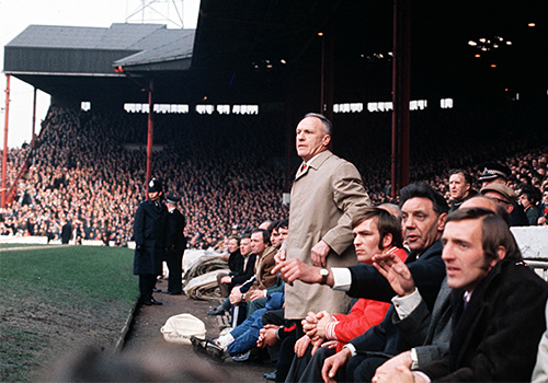 Liverpool manager Bill Shankly on the Anfield touchline in 1970