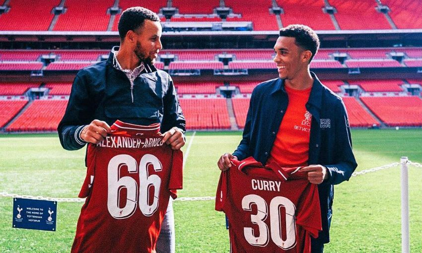huge discount 9be7b c1d44 Trent presents Stephen Curry with Liverpool shirt - Liverpool FC