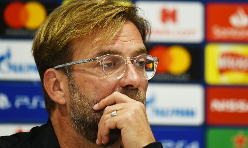 Jürgen Klopp, Liverpool FC manager, in a press conference at Anfield