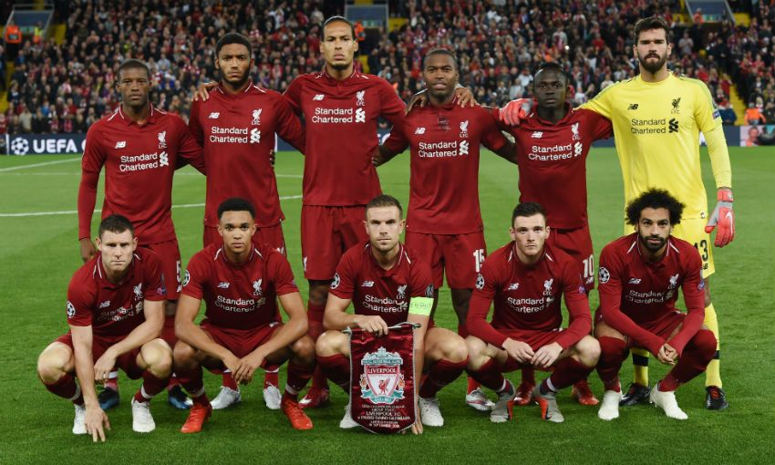 Liverpool FC team photo before Champions League game against PSG