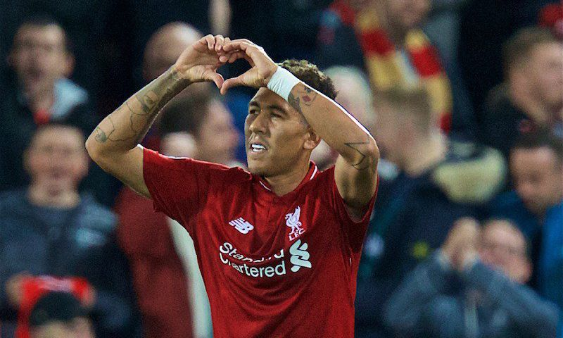 Roberto Firmino celebrates scoring in Liverpool v PSG at Anfield