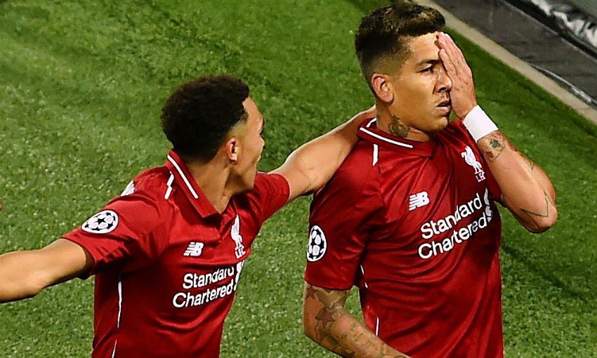 Roberto Firmino celebrates scoring for Liverpool v PSG in Champions League at Anfield