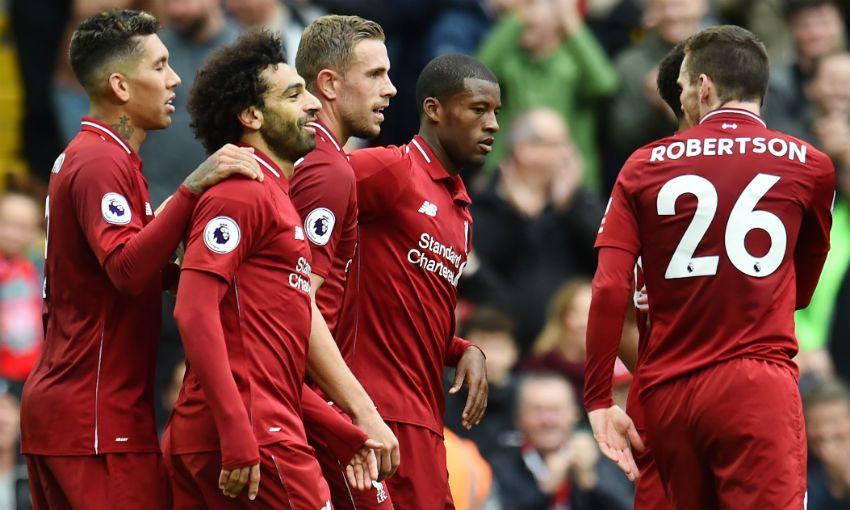Mohamed Salah of Liverpool FC celebrates scoring v Southampton