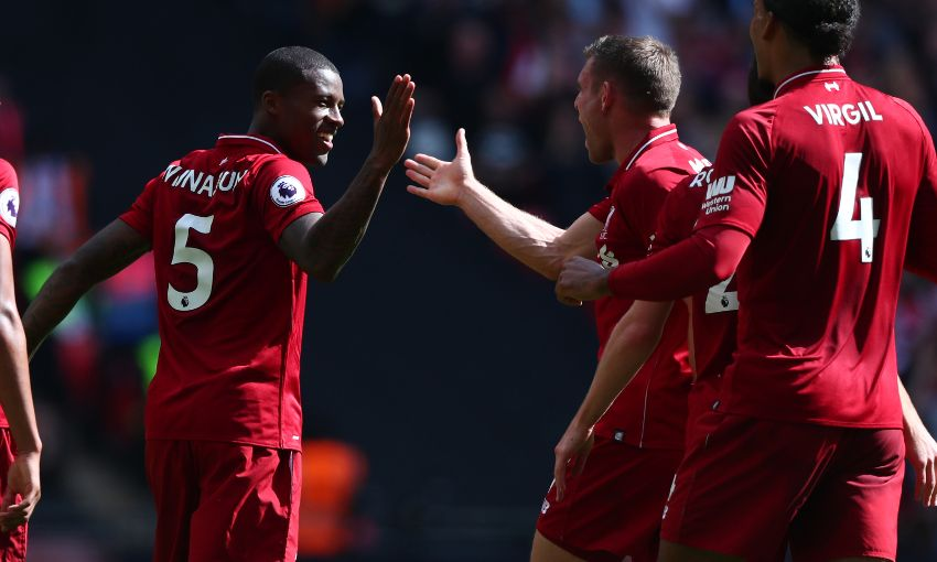 Georginio Wijnaldum celebrates a goal for Liverpool