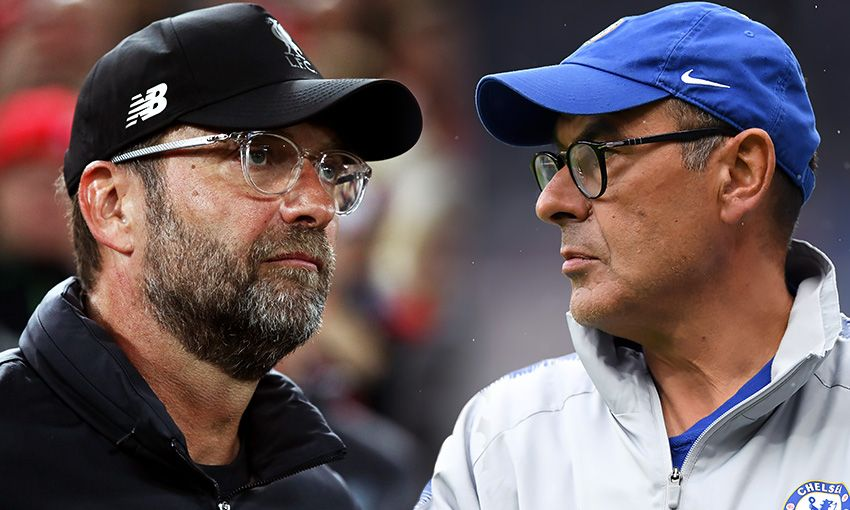 Liverpool manager Jürgen Klopp and Chelsea boss Maurizio Sarri