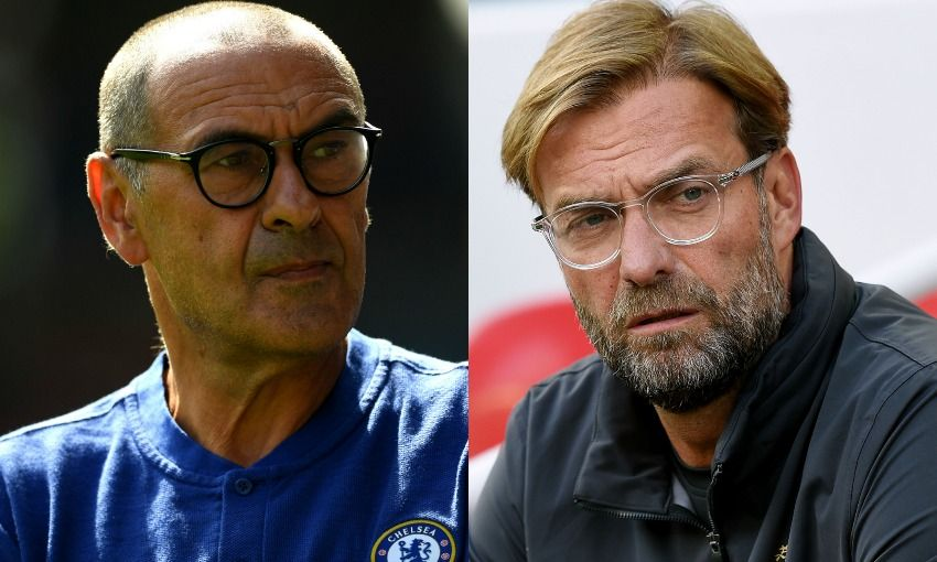 Maurizio Sarri and Jürgen Klopp, managers of Chelsea FC and Liverpool FC