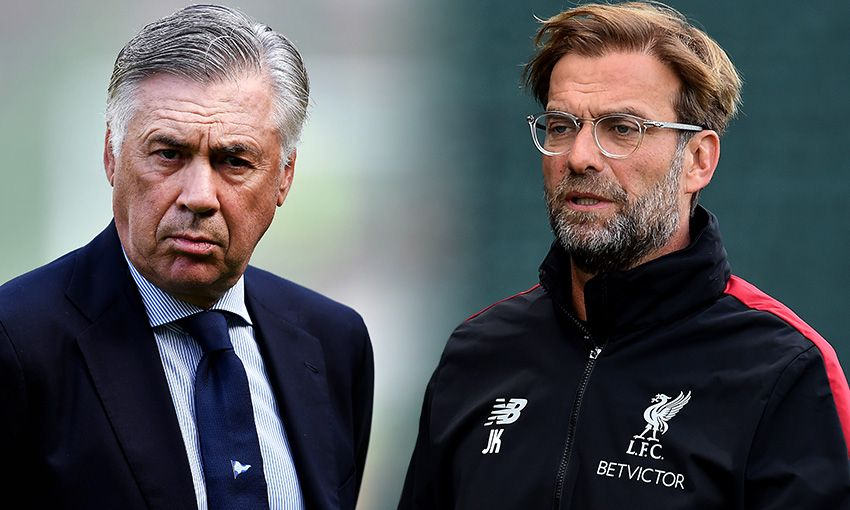 Napoli boss Carlo Ancelotti and Liverpool manager Jürgen Klopp
