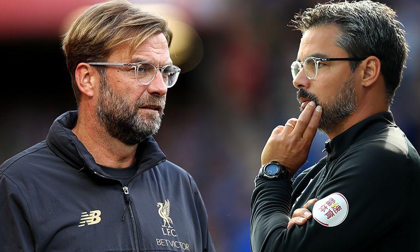 Liverpool manager Jürgen Klopp and Huddersfield manager David Wagner