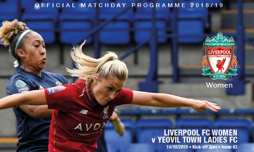 LIVERPOOL FC WOMEN V YEOVIL PROGRAMME