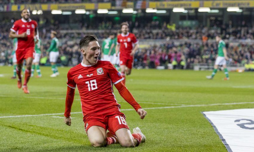 Liverpool FC's Harry Wilson celebrates scoring for Wales v Republic of Ireland