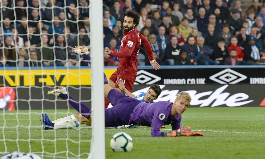 Mohamed Salah scores against Huddersfield