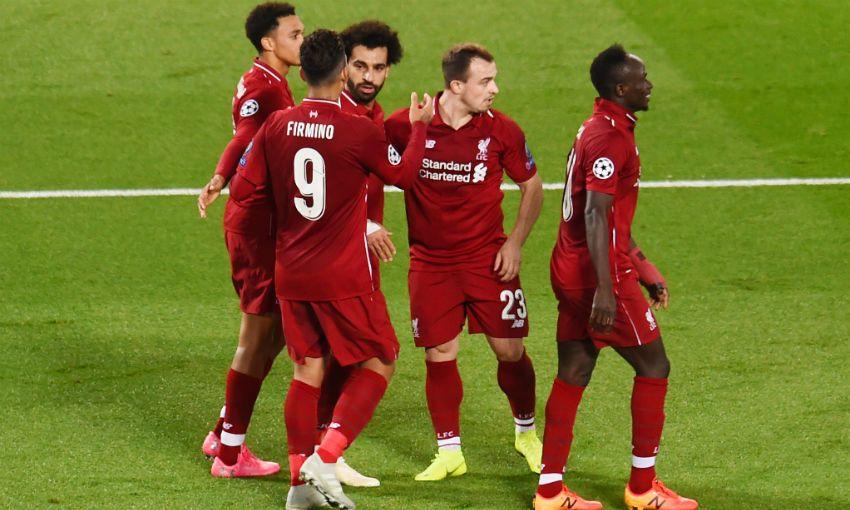 Mohamed Salah celebrates scoring for Liverpool FC v Red Star Belgrade