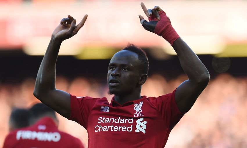 Sadio Mane celebrates a Liverpool goal