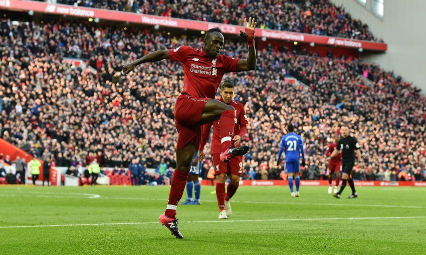 Liverpool FC's Sadio Mane celebrates scoring versus Cardiff City