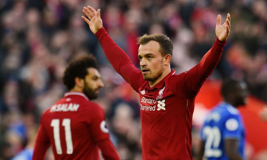 Xherdan Shaqiri celebrates a Liverpool goal