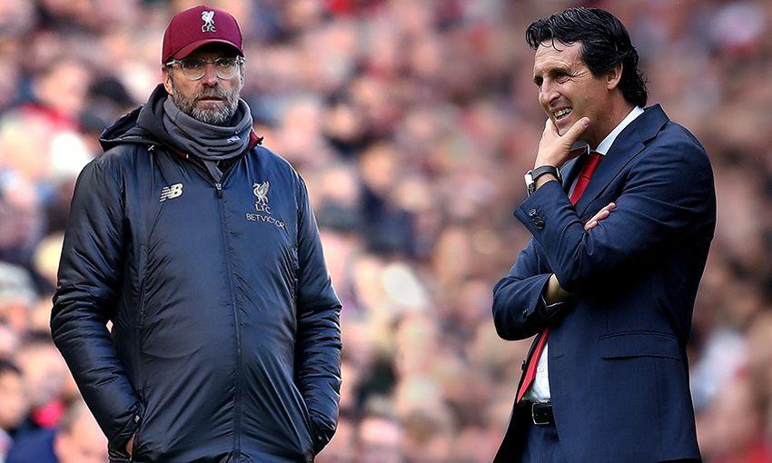 Liverpool manager Jürgen Klopp and Arsenal boss Unai Emery