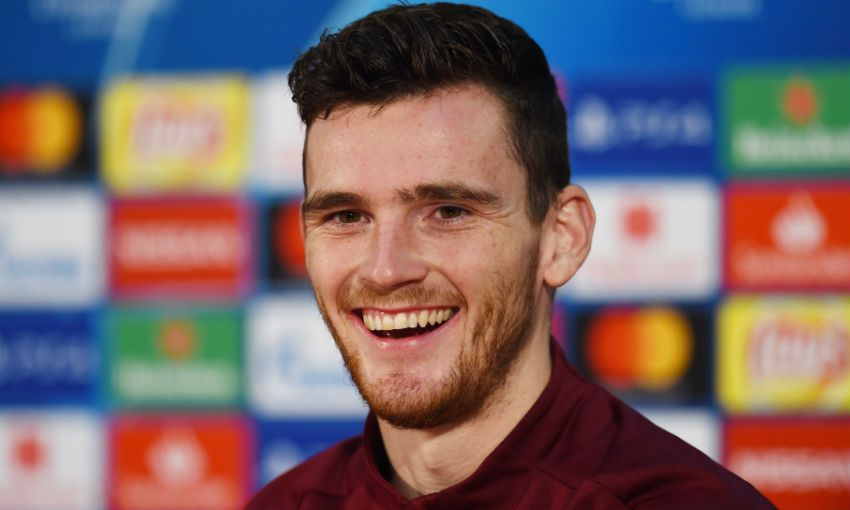 Liverpool FC's Andy Robertson during Red Star Belgrade press conference