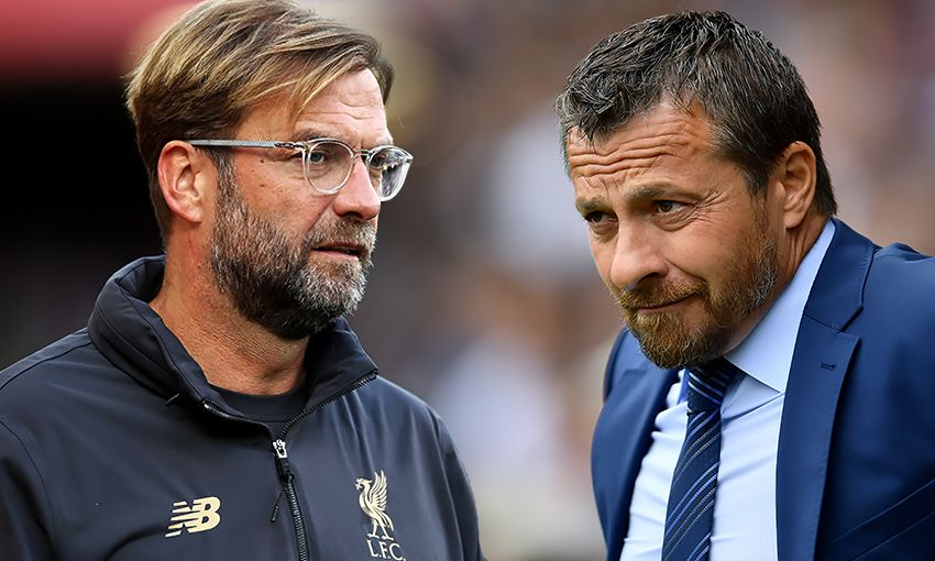 Liverpool manager Jürgen Klopp and Fulham boss Slavisa Jokanovic