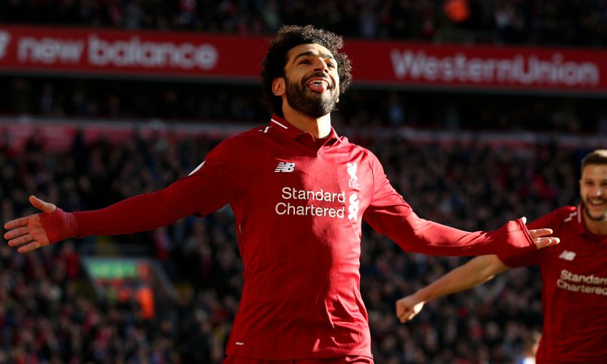 Mohamed Salah celebrates a Liverpool goal