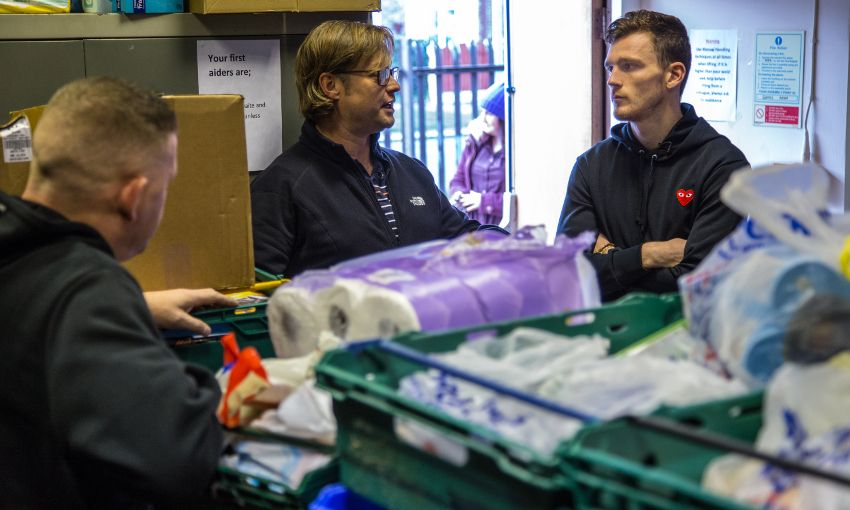 Andy Robertson visits North Liverpool Foodbank