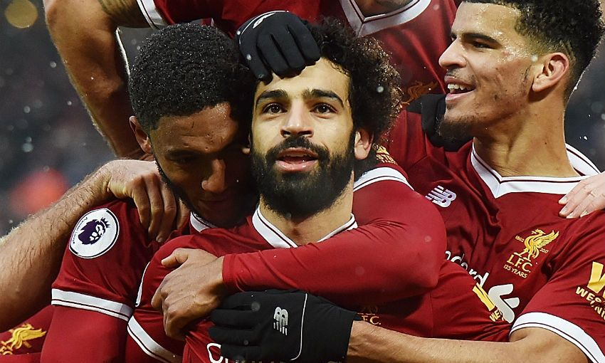 Mohamed Salah of Liverpool FC celebrates scoring v Everton