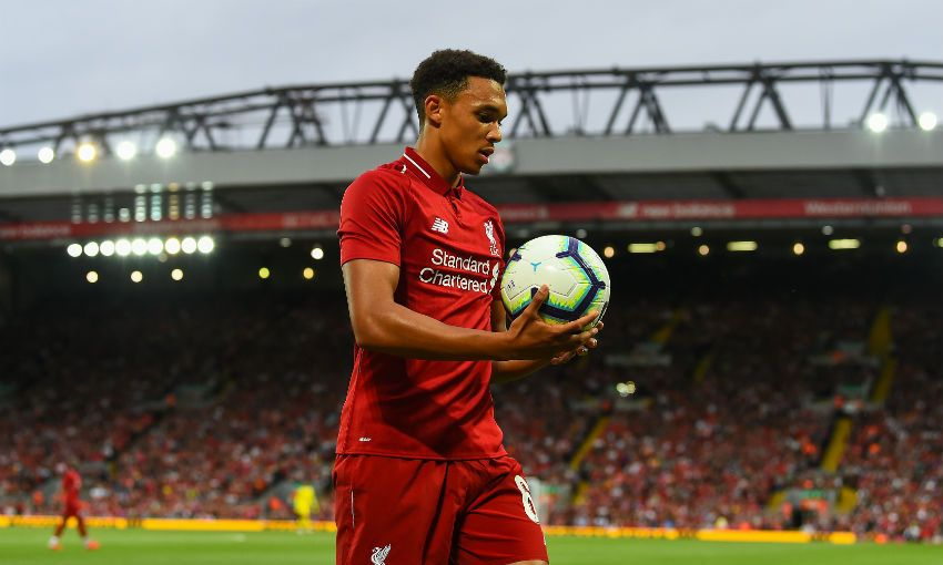Trent Alexander-Arnold of Liverpool FC in action at Anfield