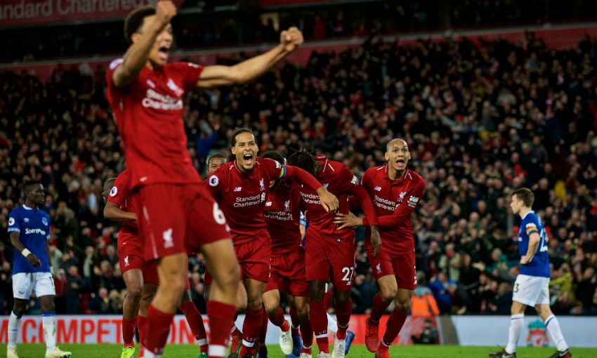 Liverpool FC celebrate Divock Origi's winning goal v Everton at Anfield