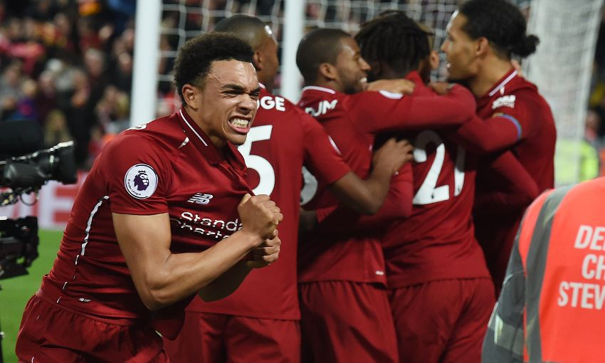 Trent Alexander-Arnold celebrates during the Merseyside derby
