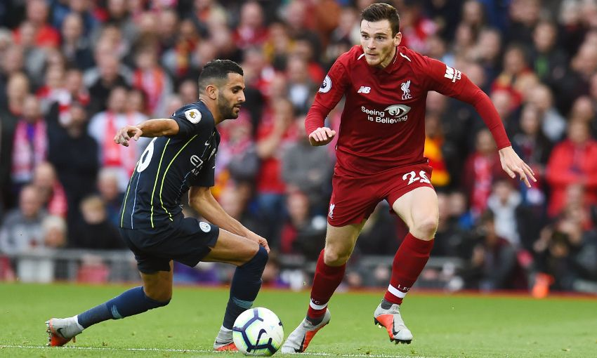 Andy Robertson against Manchester City