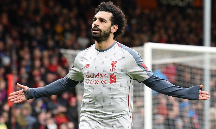 Mohamed Salah celebrates his hat-trick against Bournemouth