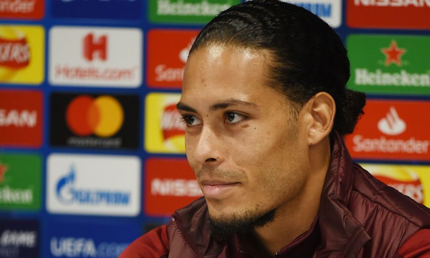 Liverpool FC's Virgil van Dijk in a press conference at Anfield