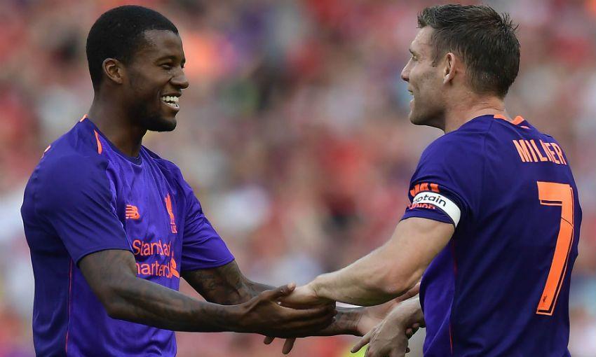 Georginio Wijnaldum and James Milner of Liverpool FC
