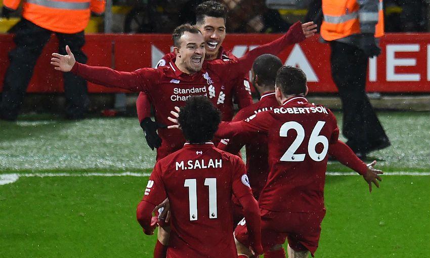 Xherdan Shaqiri celebrates a goal in Liverpool FC v Manchester United