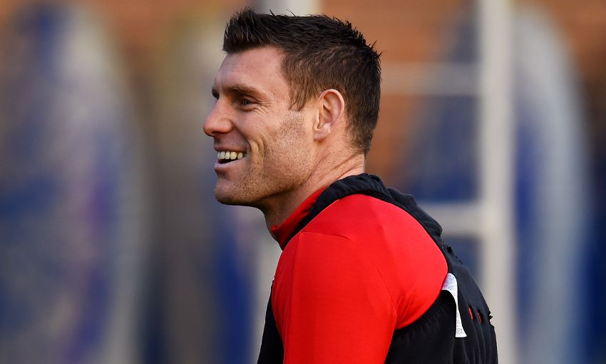Liverpool's James Milner in training